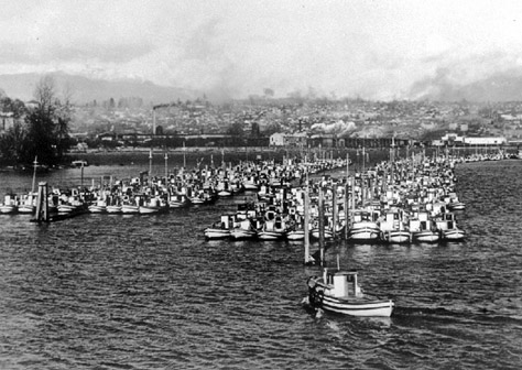Confiscated Japanese fishing boats near Robson Island, 1942   BCA C-05267